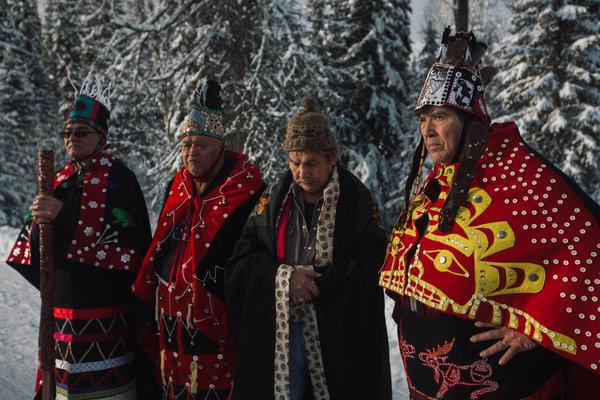 Hereditary chiefs at a news conference